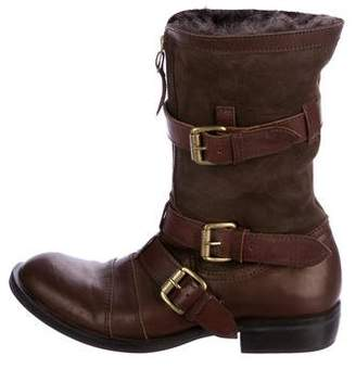 Just Cavalli Leather Shearling Boots