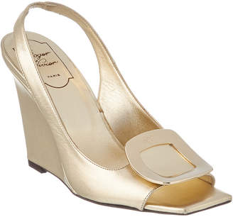 Roger Vivier Metallic Leather Wedge Sandal