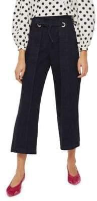 Topshop PETITE Waist Tie Cropped Wide Jeans