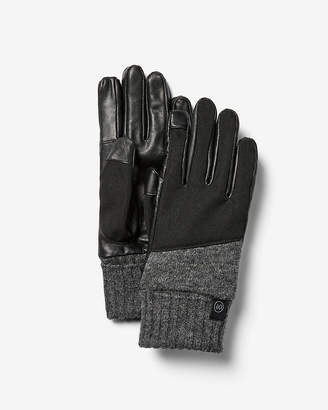 Express Leather And Wool Panel Gloves