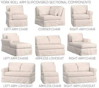 Pottery Barn York Roll Arm Deep Seat Slipcovered Build Your Own Components