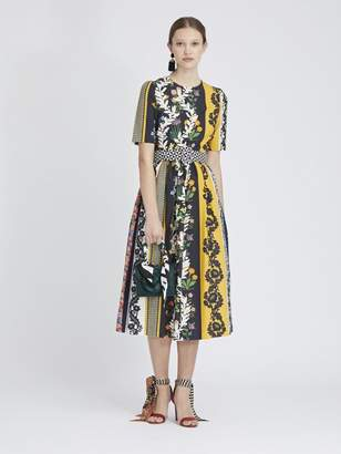 Oscar de la Renta Vintage Patchwork Cotton-Poplin Dress