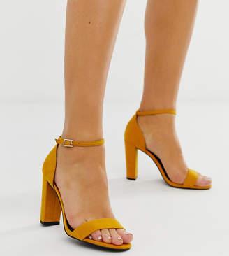 c80a3ff01f31 New Look Wide Fit block heel in dark yellow