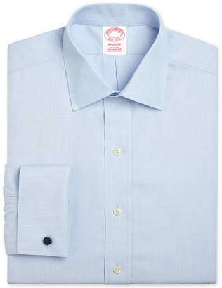 Brooks Brothers Men's Madison Classic/Regular Fit Non-Iron Solid Broadcloth Light Blue French Cuff Dress Shirt