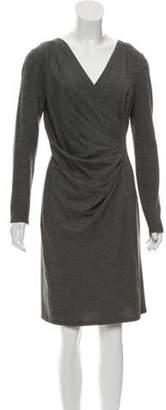 Max Mara V-Neck Long Sleeve Dress Grey V-Neck Long Sleeve Dress