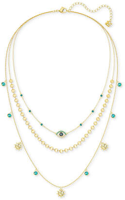 """Swarovski Gold-Tone Multicolor Crystal Mystic Charm Layered Necklace, 13-1/2"""" + 3"""" extender"""