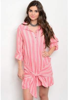 Couture Kay Coral and Ivory Stripped Dress