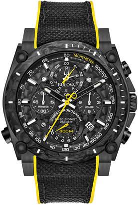 Bulova Men's Chronograph Precisionist Champlain Black & Yellow Rubber Strap Watch 46.5mm