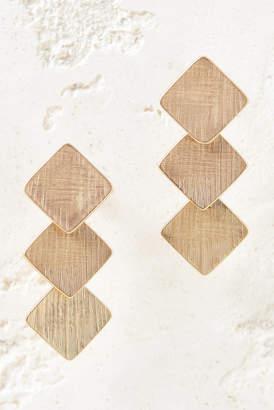 Brushed Gold Diamond Triple Drop Earrings