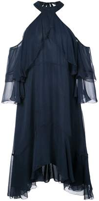 Nicole Miller halterneck ruffle flared dress