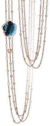 "Reiss Pasquale Bruni 18K Rose Gold Bon Ton London Blue Topaz & Diamond Necklace, 26"""