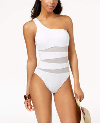 Kenneth Cole One-Shoulder Cutout Mesh One-Piece Swimsuit Women's Swimsuit