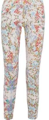 Pierre Balmain Moto-Style Cropped Floral-Print Low-Rise Slim-Leg Jeans