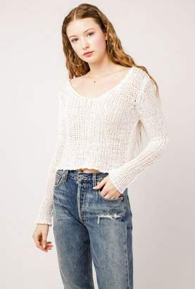 Azalea Knit Low V-Neck Crop Sweater