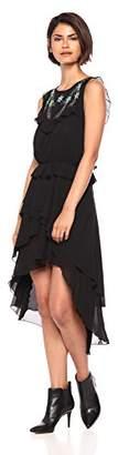 The Kooples Women's Women's Beaded Neckline Dress with Assymetrical Hem