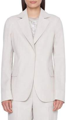 Akris Aileen Zip-Sleeve Cool Wool Crepe Blazer