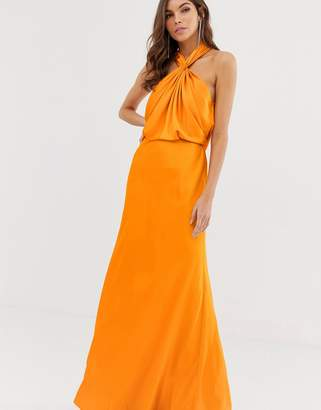 Asos Edition EDITION ruched halter neck maxi dress