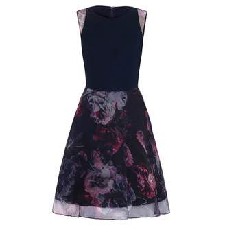 Abigail London Cotton & Floral Print Silk Organza Harriet Skater Dress