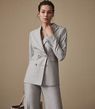 Reiss Estie Jacket - Double-breasted Blazer in Grey