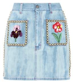 Gucci Embellished denim skirt