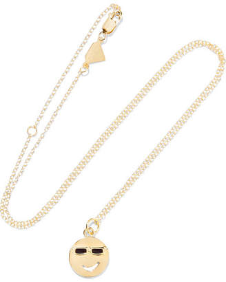 Alison Lou Medium Eye Roll 14-karat Gold, Diamond And Enamel Necklace