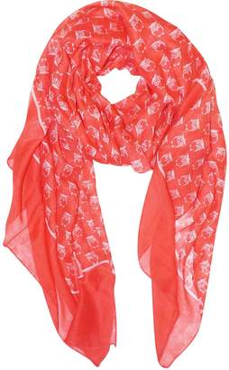 Couture Peach Beautiful Lightweight Soft Animal Owl Printed Scarf Wrap Shawl White & Coral