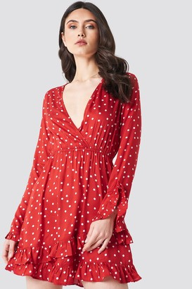 Linn Ahlborg X Na Kd Dot Wrap Dress Red/White Dots