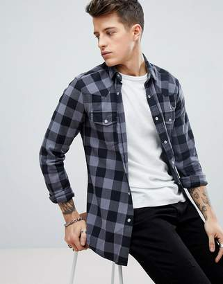 styling/ ASOS DESIGN skinny buffalo plaid shirt with western styling in gray