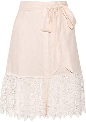 Miguelina Carlene Crocheted Cotton-lace And Linen Skirt - Pastel pink