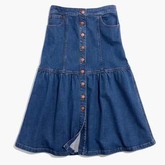 Madewell Denim Bayview Tiered Midi Skirt