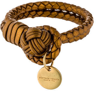 Bottega Veneta Bottega Veneta Double Intreccio Metallic Leather Bracelet
