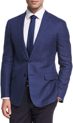 Ralph Lauren Herringbone Linen-Wool Sport Coat, Blue