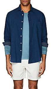 Hartford Men's Dotted Cotton Shirt - Dk. Blue