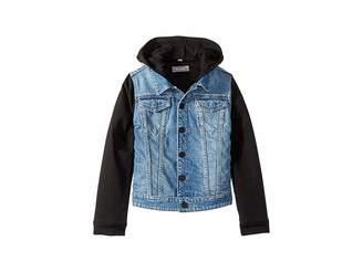 DL1961 Kids Manning Mid Wash Denim Jacket with Black Knit Sleeves and Hood (Toddler/Little Kids)