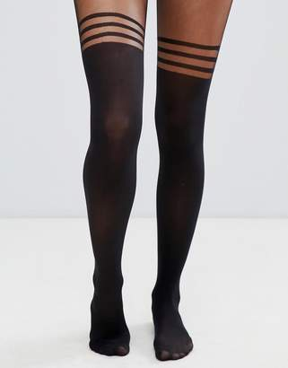 Asos Design DESIGN recycled 3 stripe over the knee tights with support