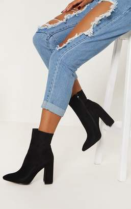 6278eb72132d PrettyLittleThing Black Faux Suede High Point Ankle Boot