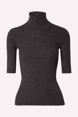 Theory Leenda Ribbed Merino Wool Turtleneck Top - Black