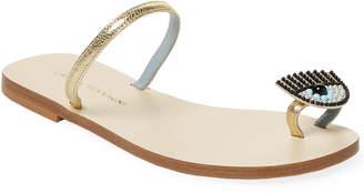 Chiara Ferragni Eyelash Detail Leather Sandal