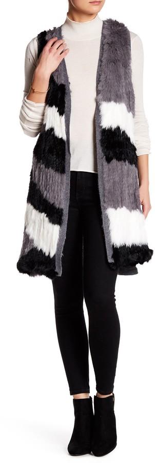 Catherine MalandrinoCatherine Malandrino Genuine Rabbit Fur & Cashmere Longline Vest