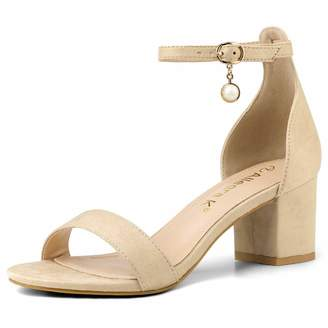 f60cb85d4 BEIGE Allegra K Women s Pearl Ankle Strap Block Heels Sandals