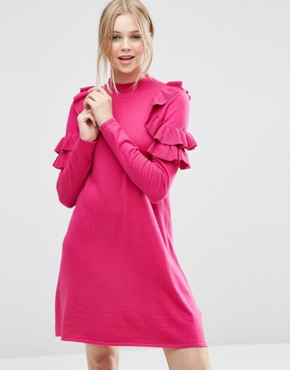 ASOS Sweater Dress with Ruffle Shoulder $53 thestylecure.com