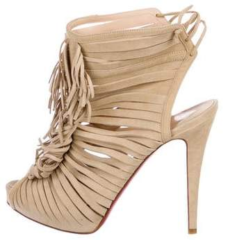 Christian Louboutin Suede Fringe-Trimmed Booties