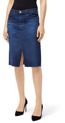 J Brand Trystan Front-Slit Denim Skirt