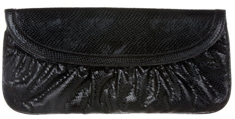 Xhilaration® Faux-Snake Flap Clutch - Black