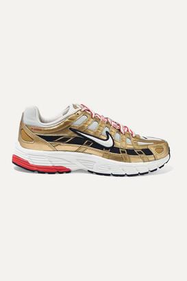 Nike P-6000 Metallic Leather And Mesh Sneakers - Gold