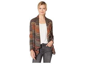 Bobeau Striped Rib Cardigan Women's Sweater