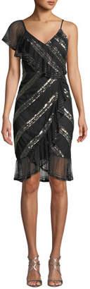 Aidan Mattox Sequin-Striped Asymmetric Dress