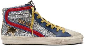 Golden Goose Slide High Top Glitter Leather Trainers - Womens - Red Silver