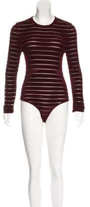 Ronny Kobo Striped Long Sleeve Bodysuit w/ Tags