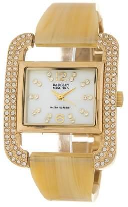 Badgley Mischka Crystal & Mother-of-Pearl Bangle Watch